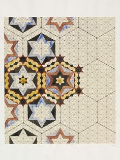 Designs for tiles in Islamic style | Owen Jones (1809-1874), maker | Pencil and watercolour | Great Britain | VA Museum, London