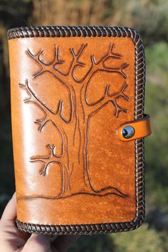 Hand-Tooled Leather Personal Organiser with Tree Design