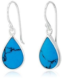 Sterling Silver Turquoise Genuine Stone Teardrop Earrings -- Click image to review more details.
