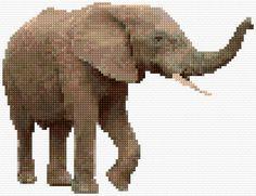 Elephant, free pattern from cross-stitch-pattern.net