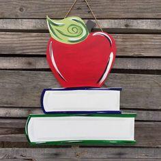 Back to School Painted Apple Door Hanging!! #buildacross #wallart #walldecor #custommade #backtoschool #school #painted #customized #woodwork #woodworking #woodwork #apple #books