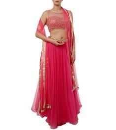 New Latest Designer Indian Pink Embroidered Net Lehenga Skirt With Crop Top Lehenga Skirt, Net Lehenga, Lehenga Choli, Saree, Diwali Sale, Anarkali Suits, Party Wear, Indian Fashion, Crop Tops