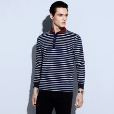 Turn Down Collar Plus Size Leisure Business Long Sleeve Polo Shirts for Male Striped Print Camisas Gola Polo Masculina