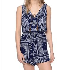 a705a6460d3 Paisley lace up romper playsuit navy LF nastygal