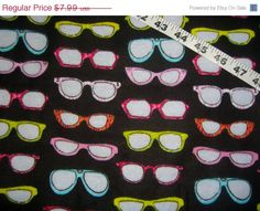 Flannel fabric with glasses shades sunglasses cotton quilt quilting sewing material to sew for crafting by the yard BTY www.etsy.com/shop/ConniesQuiltFabrics - pinned by pin4etsy.com