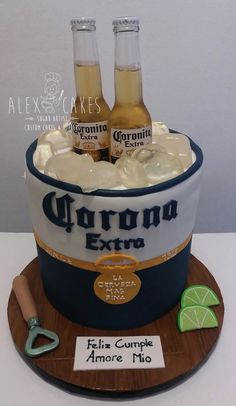 corona beer bucket Chocolate cake dulce de leche & Rum, covered in chocolate ganache and fondat, all hand crafted details. Beer Birthday Party, Birthday Cake For Him, 21st Birthday Cakes, Corona Cake, Corona Beer, Beer Party Decorations, Beer Cheese Sauce, Alcohol Cake, Bithday Cake