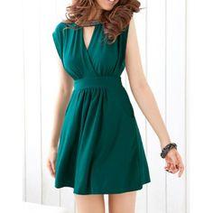 Sleeveless Solid Color Keyhole Design Slimming Nipped Waist Women's DressSummer Dresses   RoseGal.com