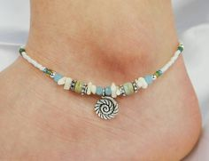 Anklet Ankle Bracelet Coiled Sea Shell Charm by ABeadApartJewelry