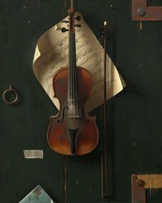 """If you were to add one object to this still life, what would it be and why? #artdetail William Michael Harnett, """"The Old Violin,"""" 1886, oil on canvas"""
