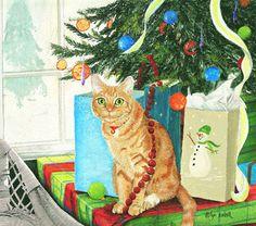 XMas. Cat by Lyn Estall