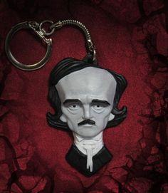 Edgar Allan Poe Keychain / trinket by Ginoybarra on Etsy, $10.00