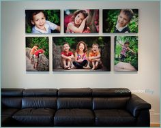 Love the layout, size, shape, and focus of these portraits. For our landing above the stairs or large wall in family room. Canvas Wall Arrangements, Canvas Groupings, Photo Arrangements On Wall, Large Family Photos, Display Family Photos, Canvas Wall Collage, Canvas Prints, Wall Art, Picture Wall