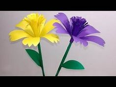 How to Make Beautiful Stick Flower Making Step By Step Paper Craft Ide. Paper Flower Vase, Paper Flowers Diy, Handmade Flowers, Flower Crafts, Fabric Flowers, Origami Flowers Tutorial, Crepe Paper Flowers Tutorial, Paper Folding Crafts, Paper Crafts For Kids