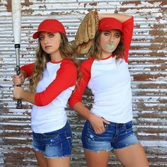 Are you looking for costume ideas for Couples or Friends? We have 15 super fun ideas from Brooklyn & Bailey. Baseball T Shirts, Baseball Costumes, Couple Halloween Costumes For Adults, Cute Halloween Costumes, Baseball Couples, Couple Costumes, Snl Halloween, Group Halloween, Halloween Ideas