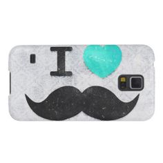 I love / heart Mustaches teal vintage damask Samsung Galaxy Nexus Cases