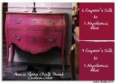 Continuing on the theme of mixing primary colors, the chart above illustrates what happens when Emperor's Silk and Napoleonic Blue are combined together. A range of strong purple hues is th…