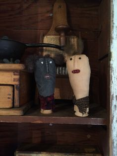 """These prim little folk are made from aged or painted muslin, stuffed with polyfil and accented with embroidered facial features and wool hair. Tied onto a wooden spool with homespun. Measure about 4"""" tall. Made from a Pineberry Lane pattern. $14.95 Cdn plus shipping. Please specify which color you'd like."""