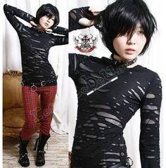 Punk Distressed Broken Mummy Corroded Raggedy Sheer Thumb Hole Mitten Shirt