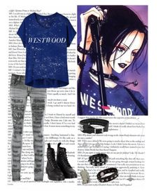 """Nana Osaki"" by the-rippers-daughter ❤ liked on Polyvore featuring PlayMe Jeans, Uniqlo, Dr. Martens, Vivienne Westwood and Jill Platner"