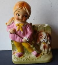 VINTAGE INARCO CUTE MADE IN JAPAN GIRL WITH BROOM AND DOG PLANTER E3985