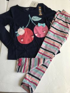 2e2c65ab6af90 GYMBOREE Outfit 5T 5 CHERRY SHIRT Striped Gray Pink LEGGINGS LOT SPRING  FALL NEW   eBay