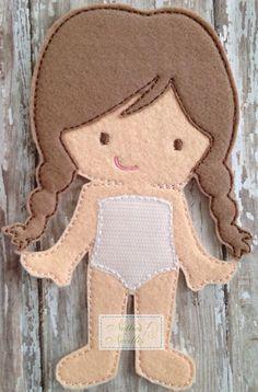 Felt Marie Doll by NettiesNeedlesToo on Etsy, $7.00...dress up doll in felt