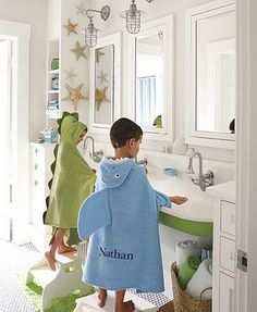 The pottery barn kids catalog that started my love of trough sinks.pottery barn kids really does make the cutest things for little kids. Childrens Bathroom, Bathroom Kids, Kids Bath, Barn Bathroom, Small Bathroom, Teenage Bathroom, Fish Bathroom, Childrens Rooms, Shared Bathroom