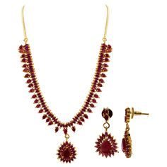 Gold Plated Simulated Ruby Indian Ethnic Earrings Necklace Set. The Length of the Necklace is 15 to 16 inch Long Adjustable. The Dimension of the Necklace is 10
