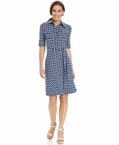 Charter Club Three-Quarter-Sleeve Printed Belted Shirtdress