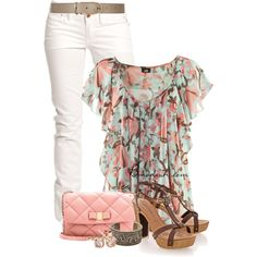 A fashion look from June 2014 featuring H&M blouses, Replay jeans and Salvatore Ferragamo shoulder bags. Browse and shop related looks.