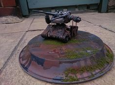 """Shot-Up Guntank   Gunpla Build Contest   G-Con UK 2016   Gundam Mecha Model Kit   """"A great depiction of the aftermath of battle. Really nice rusting and weathered effects. Battle damage nicely worked to make that melted metal look.""""  """