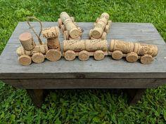 Items similar to Wine Cork Mini Train Set on Etsy Wine Cork Art, Wine Cork Crafts, Wine Bottle Crafts, Wine Cork Table, Wine Corks, How To Make Christmas Tree, Christmas Crafts, Wine Cork Ornaments, Snowman Christmas Ornaments