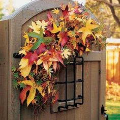 gates and door decorating with leaves in fall