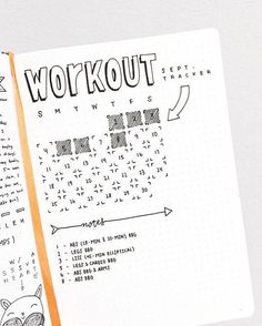 Cute workout/fitness tracker for bullet journal. #fitnesstracker,