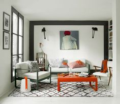 Living room - In & out furniture! Bellevie sofa and armchairs by Fermob and lamp on floor wireless  storm grey- orange table - by Fermob