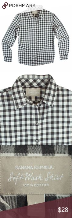 """BANANA REPUBLIC Black Softwash Buffalo Check Shirt Excellent condition. This black and eggshell Ivory buffalo check shirt from Banana Republic features button closures. Style is called Softwash - material is very soft and cozy. Made of 100% cotton. Measures: bust: 38"""", total length: 25"""", sleeves: 23"""" Banana Republic Tops Button Down Shirts"""