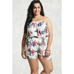 Forever21 Plus Size Floral Romper ($20) ❤ liked on Polyvore featuring plus size women's fashion, plus size clothing, plus size jumpsuits, plus size rompers, forever 21, floral rompers, ruffled rompers, playsuit romper and braided belt