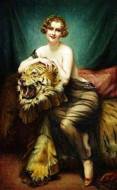 Art Déco - La Femme au Tigre - François Martin Kavel (1861-1931)
