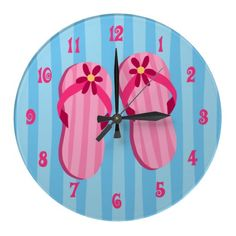 fun with flipflops | ... summer fun with this cute clock printed with a pair of pink flip flops