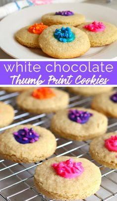 These colorful White Chocolate Thumbprint cookies have become a major hit at our house. They are buttery cookies, filled with white chocolate. Chocolate Thumbprint Cookies, Thumbprint Cookies Recipe, Chocolate Chip Cookies, Strawberry Swirl Cheesecake, Strawberry Desserts, Cheesecake Strawberries, Cookie Base Recipe, Cookie Recipes, Dairy Free Cookies