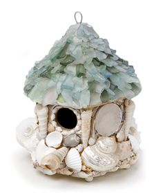 Not sure if this is practical -  but perfect for the coastal summer house! Nate Ricketts Seaglass Birdhouse - Crafted with quality found materials