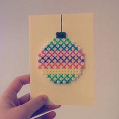 Christmas card hama beads by kain_saw Hama Beads Design, Hama Beads Patterns, Beading Patterns, Fuse Beads, Pearler Beads, Festive Crafts, Christmas Crafts, Christmas Perler Beads, Iron Beads
