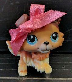 LPS Littlest Pet Shop Collie Dog #58 PAW UP Caramel Brown Blue Eyes RARE 2004