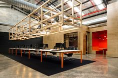 Completed in 2012 in Sydney, Australia. Images by Luc Remond. The property group, Goodman, engaged MAKE to develop a concept for the adaptive re-use of an existing warehouse in Alexandria. The space was to house. Creative Office Space, Office Space Design, Modern Office Design, Cool Office, Office Interior Design, Office Interiors, Open Office, Office Spaces, Office Designs