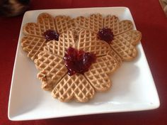 Heart-shaped Norwegian waffles for Valentine's Day! Dairy free and eggless and scrumptious!!