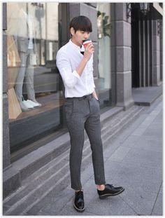 MITOSHOP - Mandarin-Collar Pocket-Front #Shirt #white #koreanfashion
