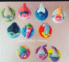 Trolls themed cupcake toppers. Fondant cupcake toppers. Trolls the movie. Fairy artistic bakery.