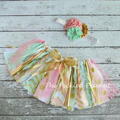 Pink Mint Gold 1st Birthday Tutu Baby Girl Birthday Outfit Birthday Dress Shabby Chic Fabric Tutu Baby Tutu Glitter Sparkle Cake Smash Skirt by ThePickledPeanut on Etsy