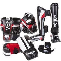 Venum Elite Complete Bundle, Black Boxing Gloves, Black Bag Gloves, Black Shinguards, Black Headgear, Black Handwraps, 16-Ounce Gloves, Large/X-Large Bag Gloves, Medium Shinguards Venum. Muay Thai gear