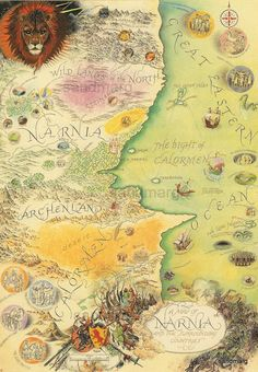 Map of Narnia and surrounding places. This beautiful map by Pauline Baynes was printed in 1991. In beautiful condition, the paper measures 7.5 x 10 inches with a print area of 5....